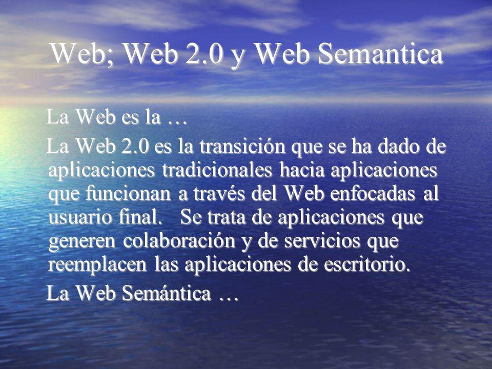 Web; Web 2.0 y Web Semantica La Web es la … La Web es la … La Web 2.0 es la transición que se ha dado de aplicaciones tradicionales hacia aplicaciones