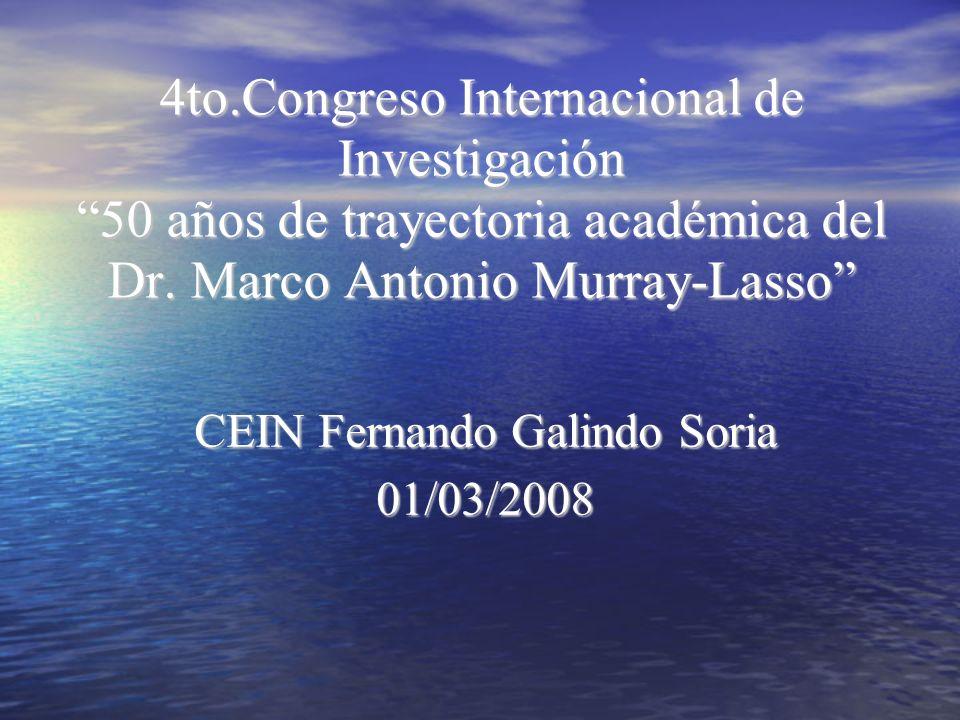 4to.Congreso Internacional de Investigación 50 años de trayectoria académica del Dr. Marco Antonio Murray-Lasso CEIN Fernando Galindo Soria 01/03/2008
