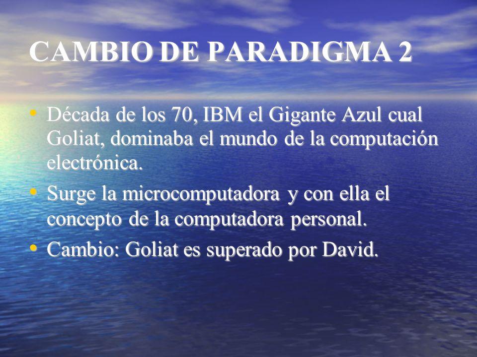 CAMBIO DE PARADIGMA 2 Década de los 70, IBM el Gigante Azul cual Goliat, dominaba el mundo de la computación electrónica. Década de los 70, IBM el Gig