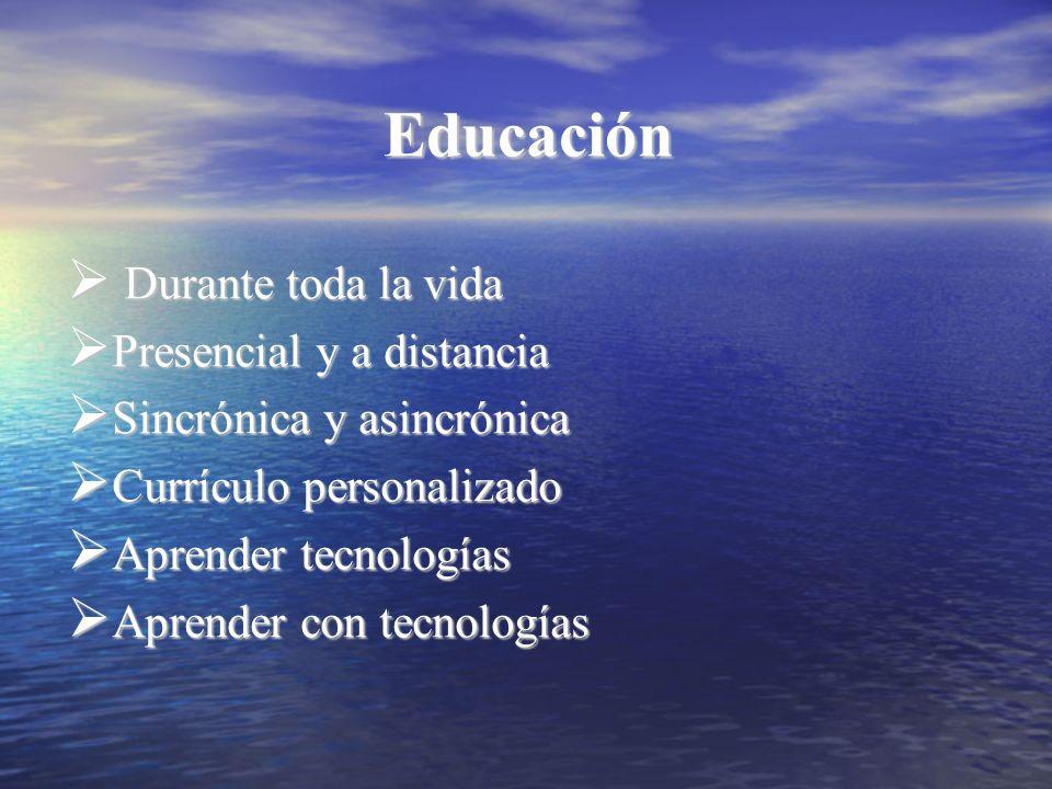 Educación Durante toda la vida Durante toda la vida Presencial y a distancia Presencial y a distancia Sincrónica y asincrónica Sincrónica y asincrónic