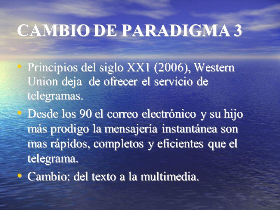 CAMBIO DE PARADIGMA 3 Principios del siglo XX1 (2006), Western Union deja de ofrecer el servicio de telegramas. Principios del siglo XX1 (2006), Weste