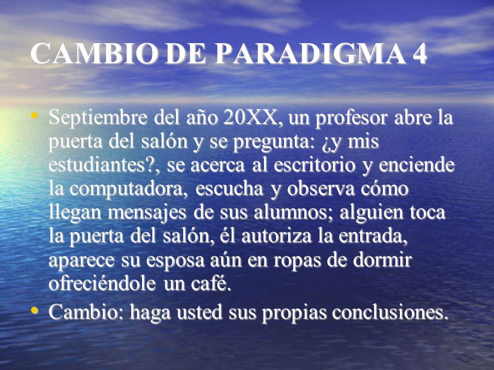 CAMBIO DE PARADIGMA 4 Septiembre del año 20XX, un profesor abre la puerta del salón y se pregunta: ¿y mis estudiantes?, se acerca al escritorio y enci