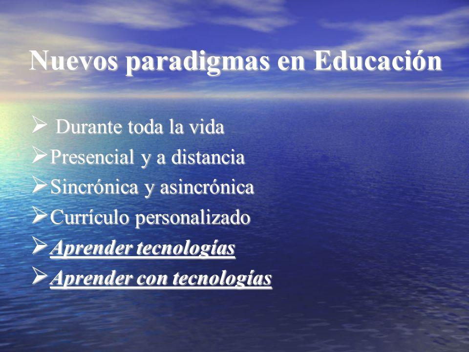 Nuevos paradigmas en Educación Durante toda la vida Durante toda la vida Presencial y a distancia Presencial y a distancia Sincrónica y asincrónica Si