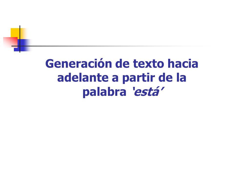 Generación de texto hacia adelante a partir de la palabra está