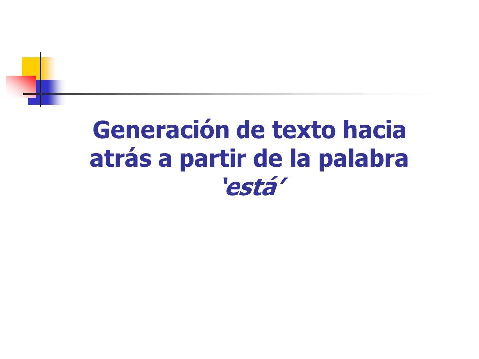 Generación de texto hacia atrás a partir de la palabra está