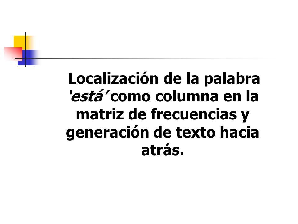 Localización de la palabra está como columna en la matriz de frecuencias y generación de texto hacia atrás.