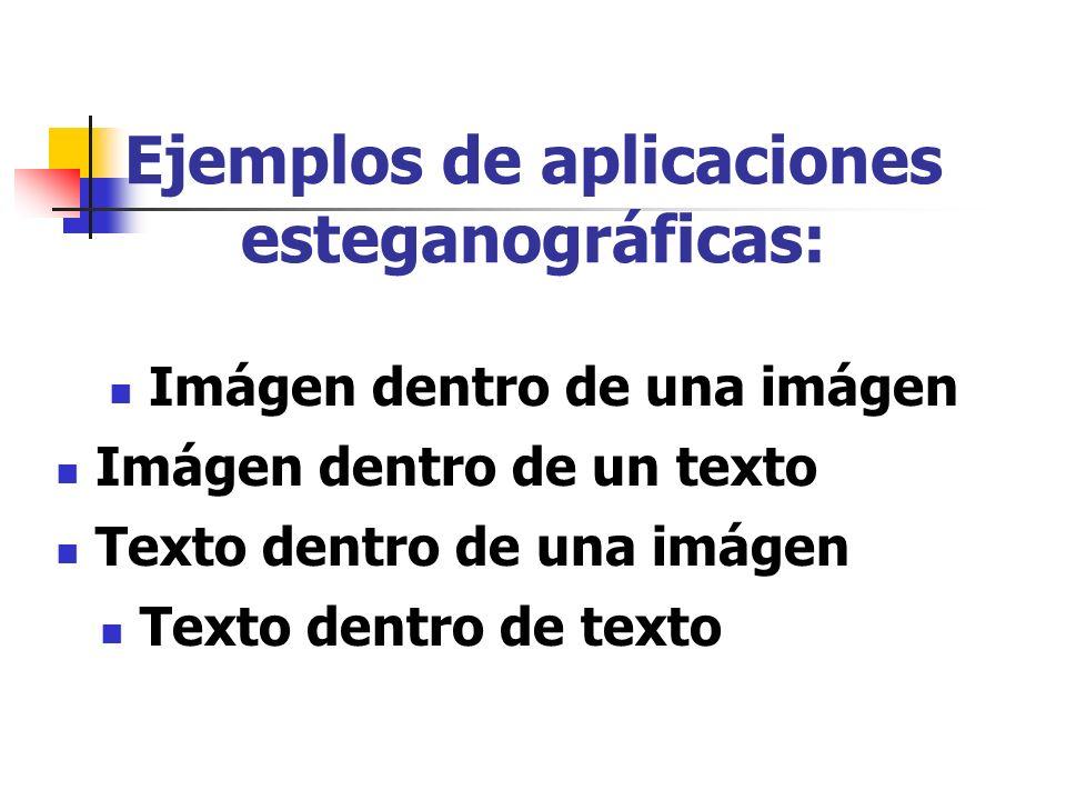Ejemplos de aplicaciones esteganográficas: Imágen dentro de una imágen Imágen dentro de un texto Texto dentro de una imágen Texto dentro de texto