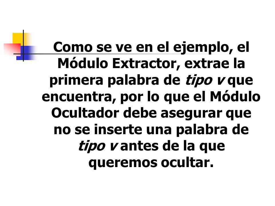 Como se ve en el ejemplo, el Módulo Extractor, extrae la primera palabra de tipo v que encuentra, por lo que el Módulo Ocultador debe asegurar que no