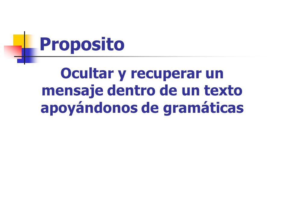 Ocultar y recuperar un mensaje dentro de un texto apoyándonos de gramáticas Proposito