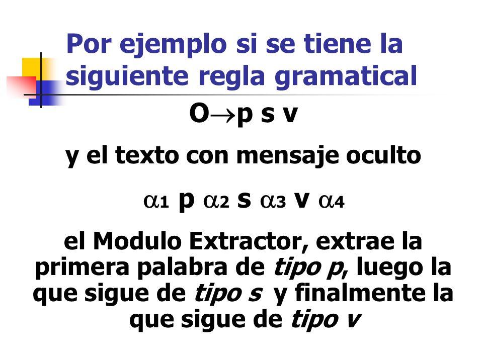 Por ejemplo si se tiene la siguiente regla gramatical O p s v y el texto con mensaje oculto 1 p 2 s 3 v 4 el Modulo Extractor, extrae la primera palab