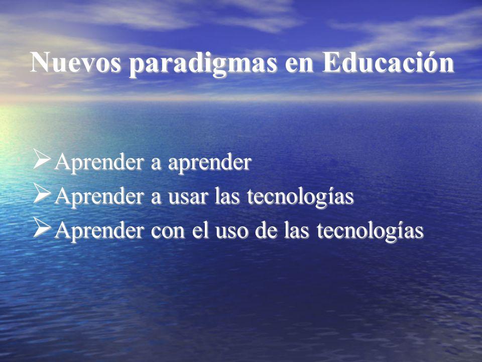 Nuevos paradigmas en Educación Aprender a aprender Aprender a aprender Aprender a usar las tecnologías Aprender a usar las tecnologías Aprender con el