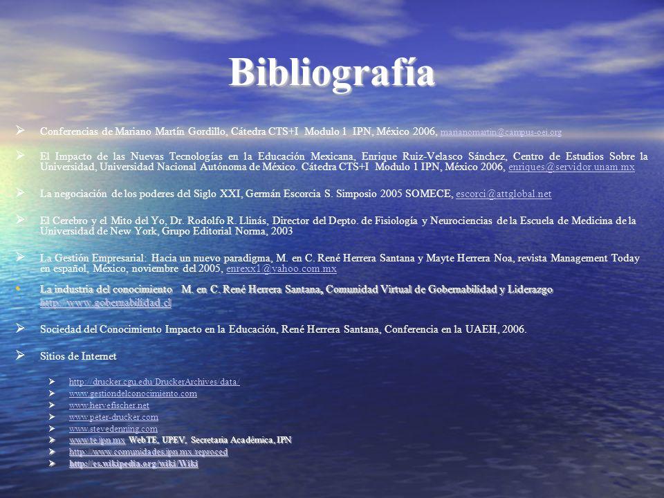 Bibliografía Conferencias de Mariano Martín Gordillo, Cátedra CTS+I Modulo 1 IPN, México 2006, marianomartin@campus-oei.org marianomartin@campus-oei.o