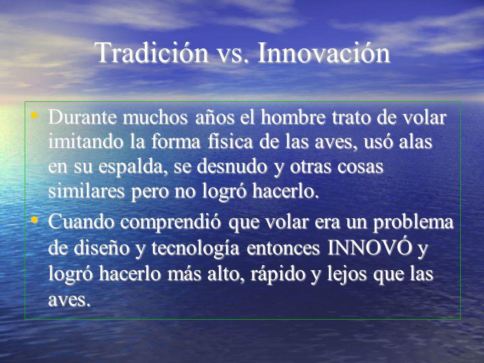 Tradición vs. Innovación Durante muchos años el hombre trato de volar imitando la forma física de las aves, usó alas en su espalda, se desnudo y otras
