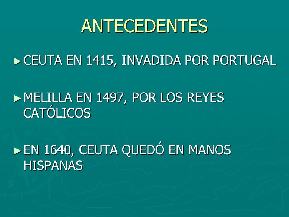 ANTECEDENTES CEUTA EN 1415, INVADIDA POR PORTUGAL CEUTA EN 1415, INVADIDA POR PORTUGAL MELILLA EN 1497, POR LOS REYES CATÓLICOS MELILLA EN 1497, POR L