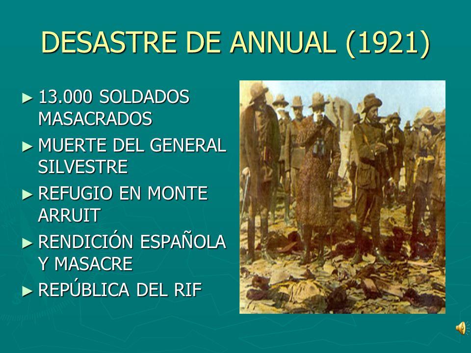 DESASTRE DE ANNUAL (1921) 13.000 SOLDADOS MASACRADOS MUERTE DEL GENERAL SILVESTRE REFUGIO EN MONTE ARRUIT RENDICIÓN ESPAÑOLA Y MASACRE REPÚBLICA DEL R
