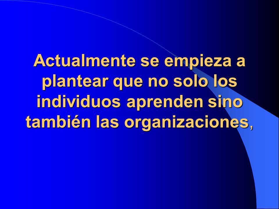 Actualmente se empieza a plantear que no solo los individuos aprenden sino también las organizaciones,