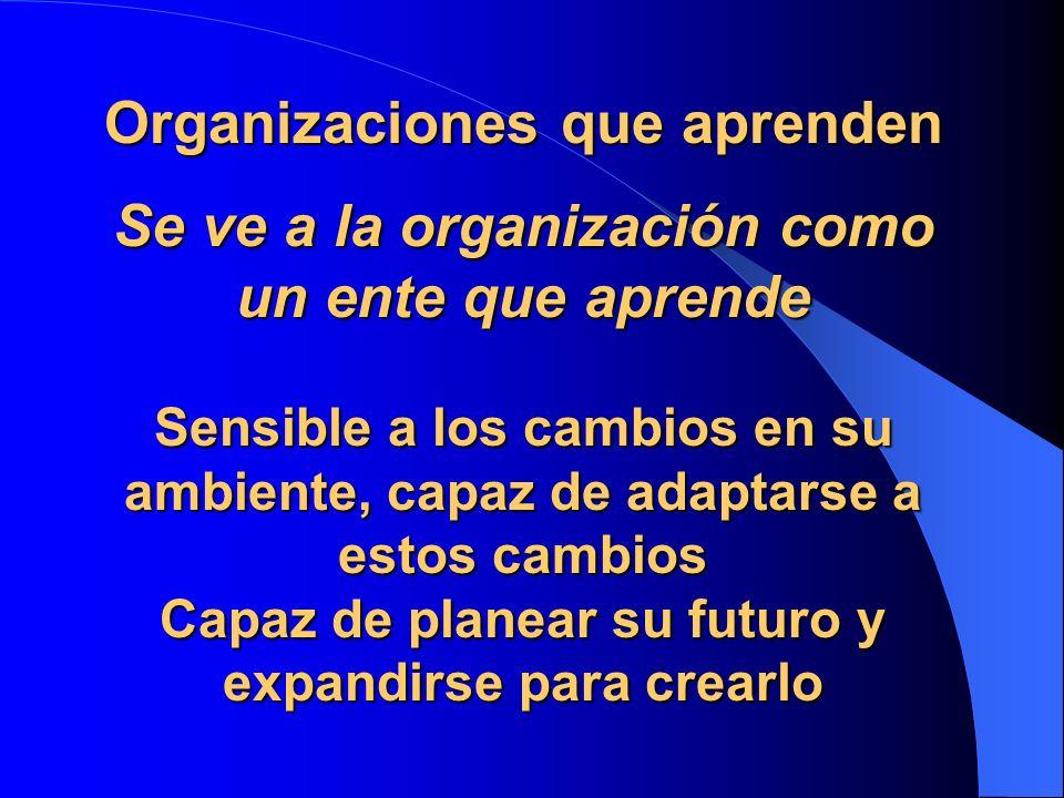 Organizaciones que aprenden Se ve a la organización como un ente que aprende Sensible a los cambios en su ambiente, capaz de adaptarse a estos cambios
