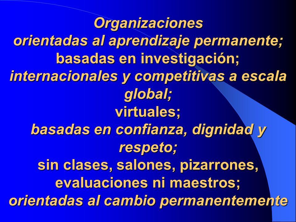 Organizaciones orientadas al aprendizaje permanente; basadas en investigación; internacionales y competitivas a escala global; virtuales; basadas en c