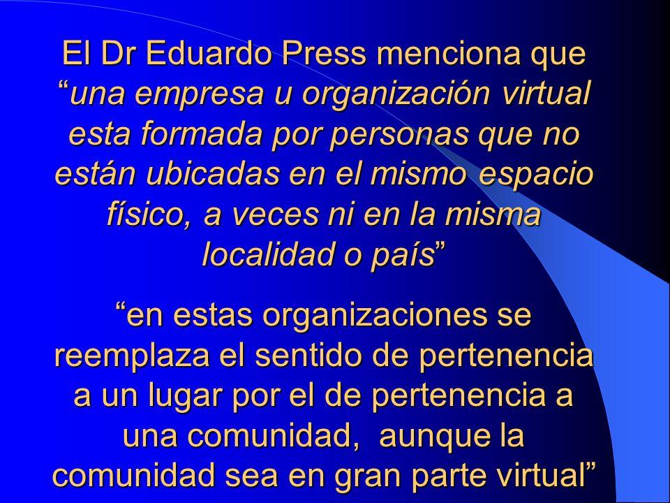 El Dr Eduardo Press menciona queuna empresa u organización virtual esta formada por personas que no están ubicadas en el mismo espacio físico, a veces