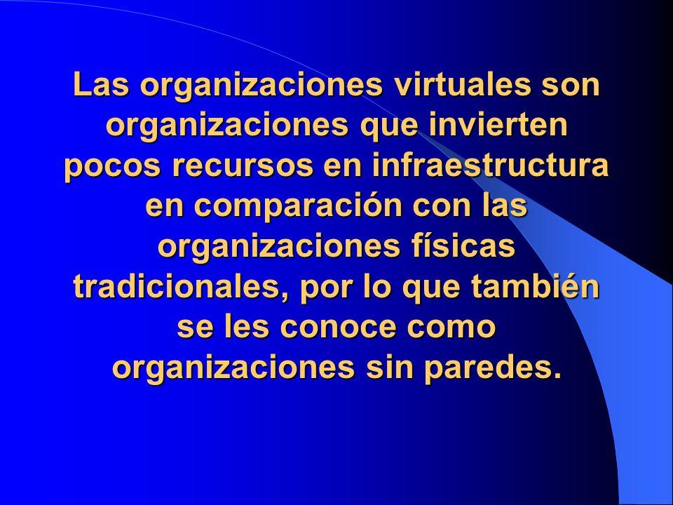 Las organizaciones virtuales son organizaciones que invierten pocos recursos en infraestructura en comparación con las organizaciones físicas tradicio