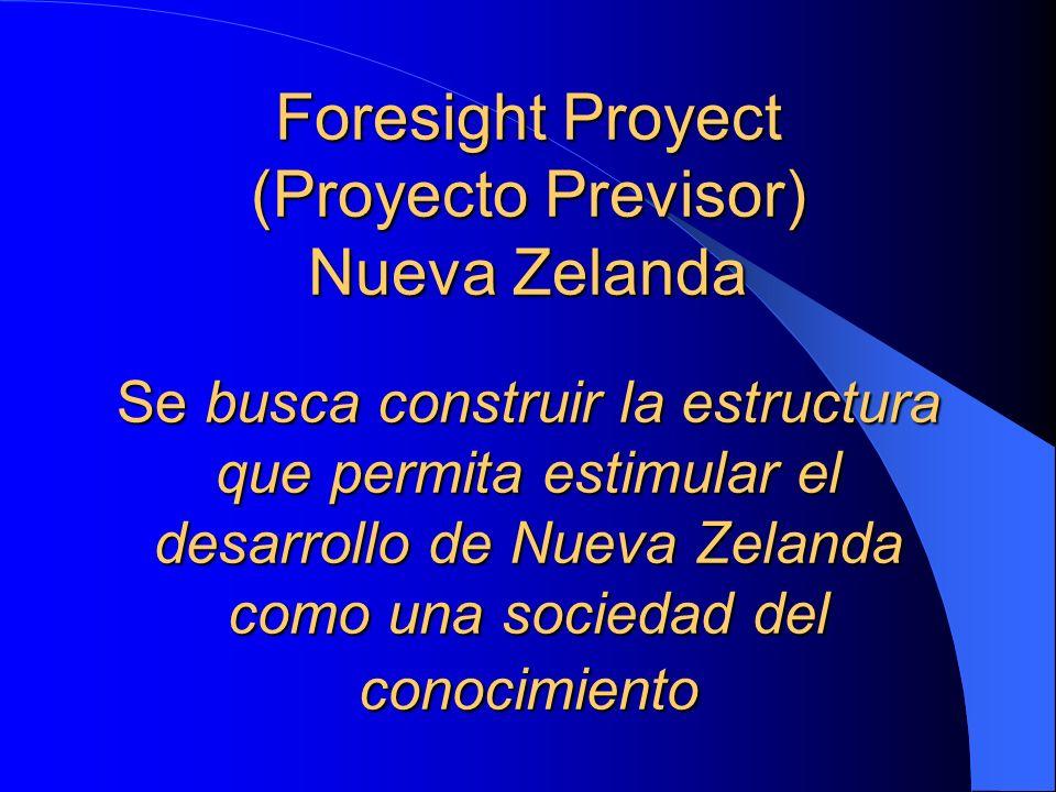 Foresight Proyect (Proyecto Previsor) Nueva Zelanda Se busca construir la estructura que permita estimular el desarrollo de Nueva Zelanda como una soc