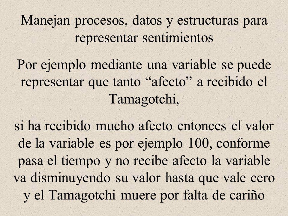 Manejan procesos, datos y estructuras para representar sentimientos Por ejemplo mediante una variable se puede representar que tanto afecto a recibido