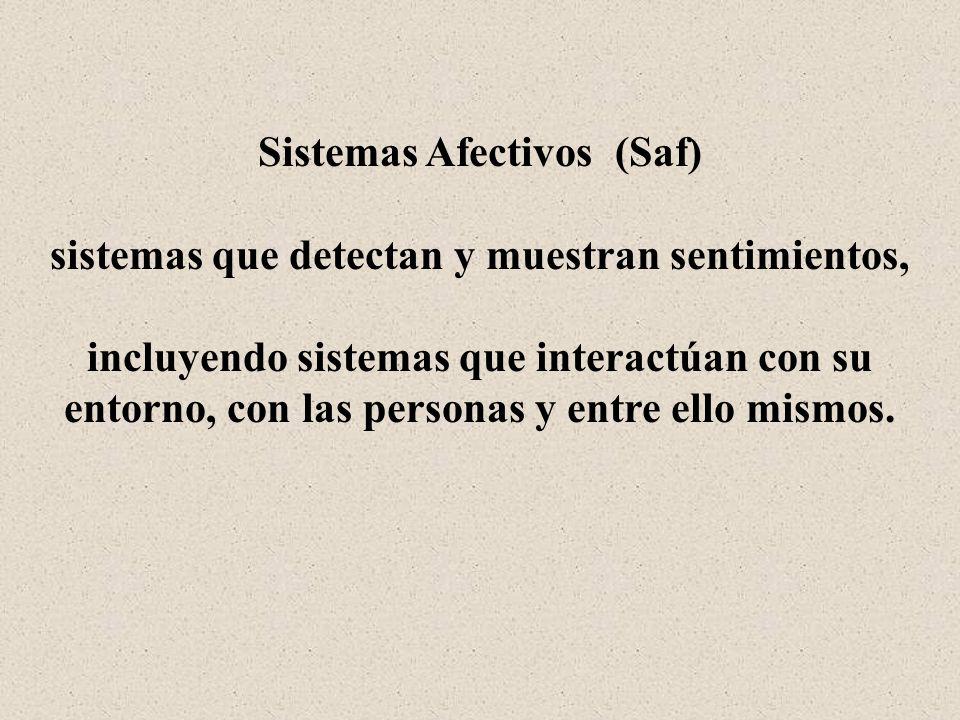 Sistemas Afectivos (Saf) sistemas que detectan y muestran sentimientos, incluyendo sistemas que interactúan con su entorno, con las personas y entre e
