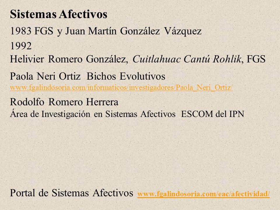 1983 FGS y Juan Martín González Vázquez 1992 Helivier Romero González, Cuitlahuac Cantú Rohlik, FGS Sistemas Afectivos Paola Neri Ortiz Bichos Evoluti
