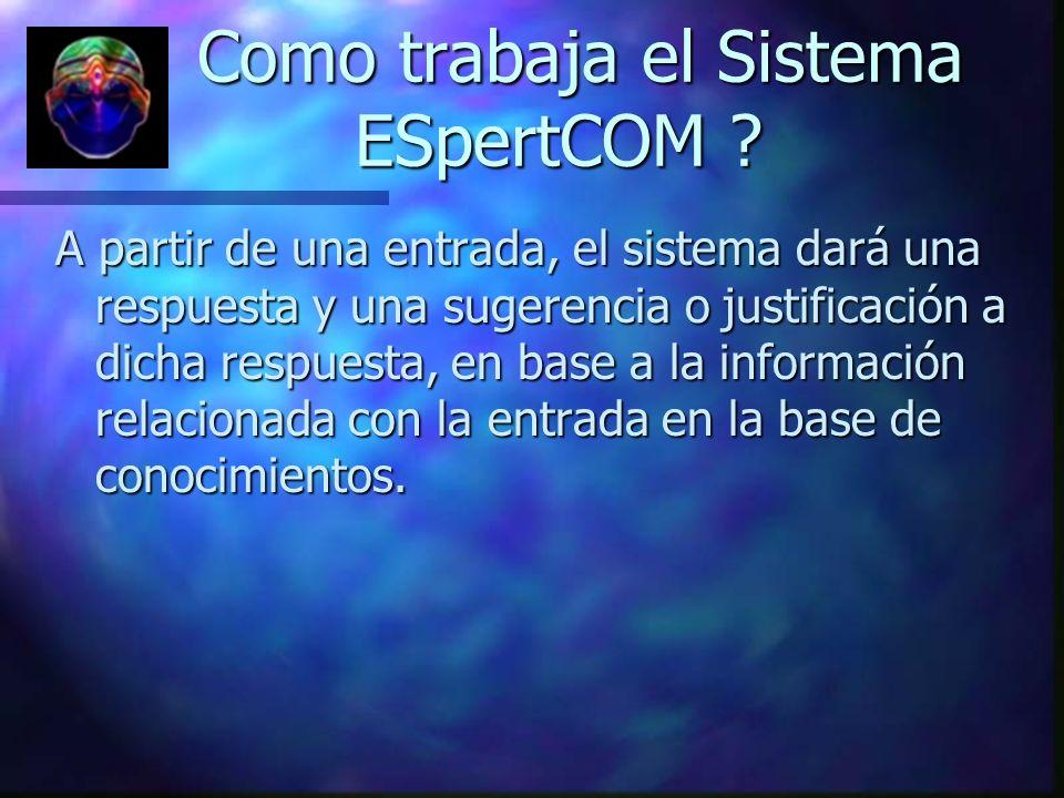 Como trabaja el Sistema ESpertCOM ? Como trabaja el Sistema ESpertCOM ? A partir de una entrada, el sistema dará una respuesta y una sugerencia o just
