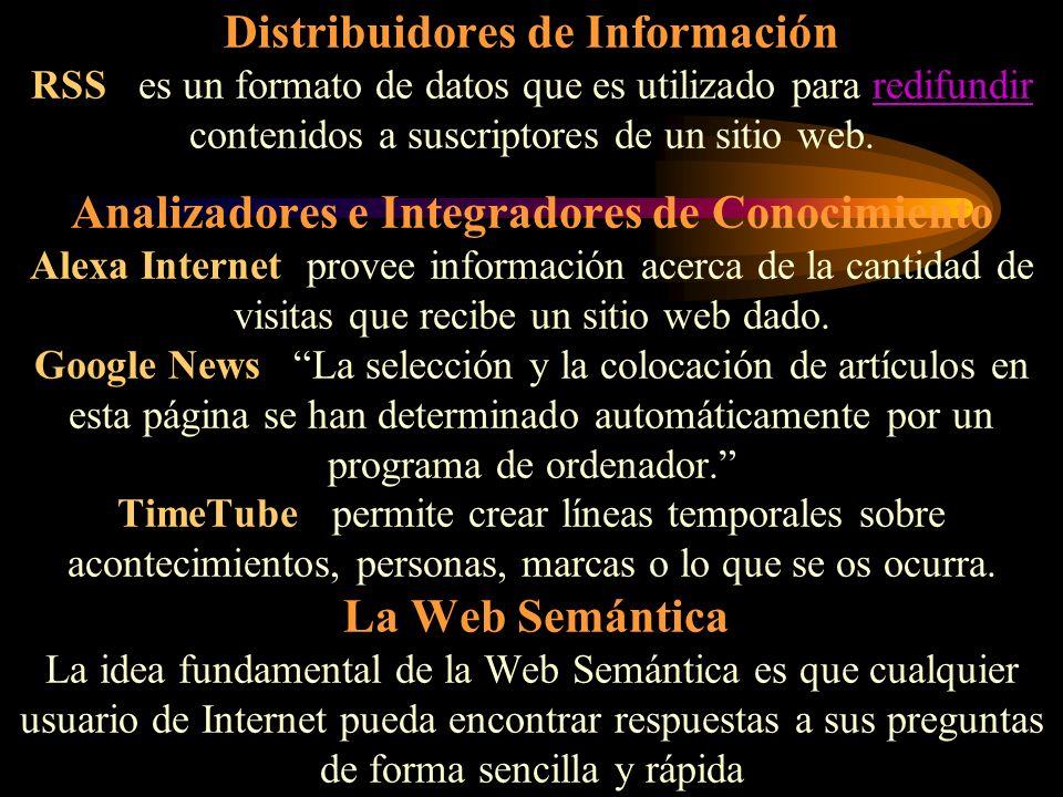 Distribuidores de Información RSS es un formato de datos que es utilizado para redifundir contenidos a suscriptores de un sitio web. Analizadores e In