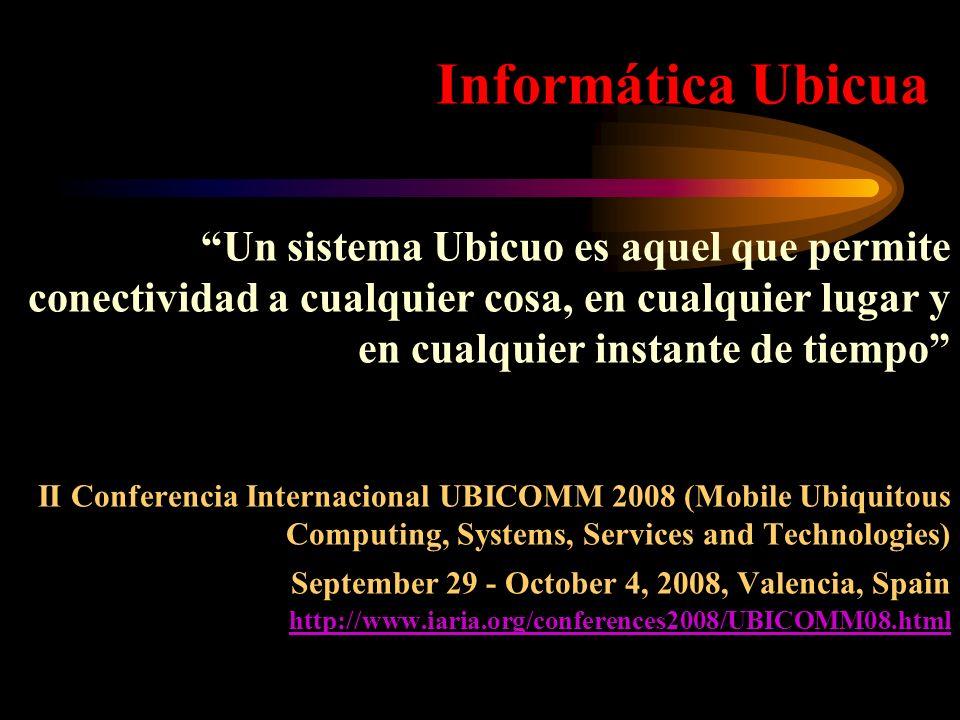 Informática UbicuaUn sistema Ubicuo es aquel que permite conectividad a cualquier cosa, en cualquier lugar y en cualquier instante de tiempo II Confer