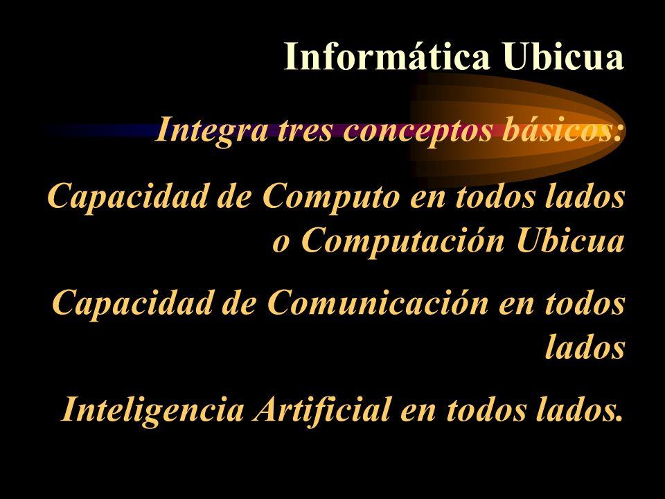 Informática Ubicua Integra tres conceptos básicos: Capacidad de Computo en todos lados o Computación Ubicua Capacidad de Comunicación en todos lados I