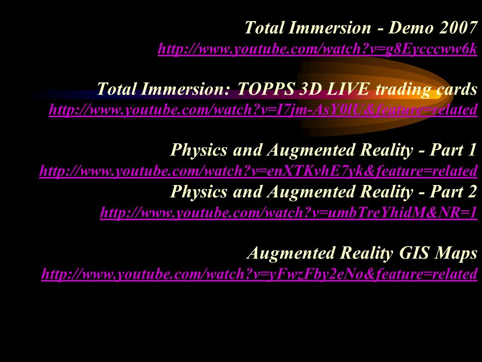 Total Immersion - Demo 2007 http://www.youtube.com/watch?v=g8Eycccww6k Total Immersion: TOPPS 3D LIVE trading cards http://www.youtube.com/watch?v=I7j