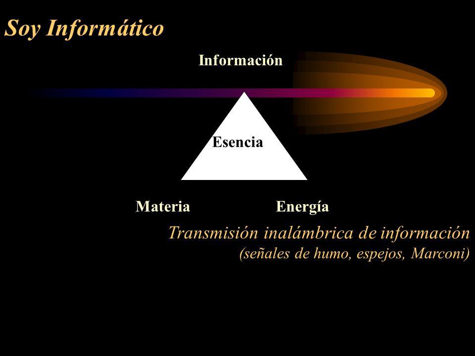 Soy Informático Transmisión inalámbrica de información (señales de humo, espejos, Marconi) Información MateriaEnergía Esencia