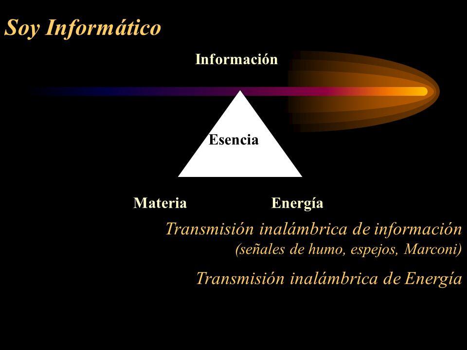 Soy Informático Transmisión inalámbrica de información (señales de humo, espejos, Marconi) Transmisión inalámbrica de Energía Información MateriaEnerg