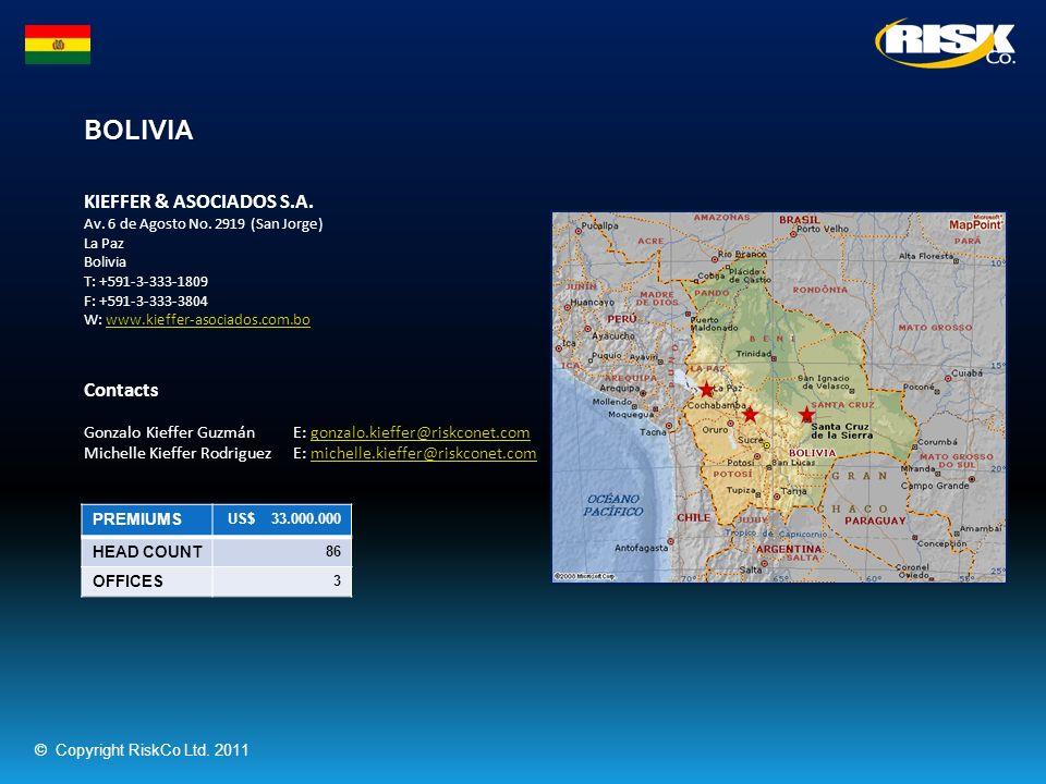 BOLIVIA PREMIUMS US$ 33.000.000 HEAD COUNT 86 OFFICES 3 KIEFFER & ASOCIADOS S.A. Av. 6 de Agosto No. 2919 (San Jorge) La Paz Bolivia T: +591-3-333-180
