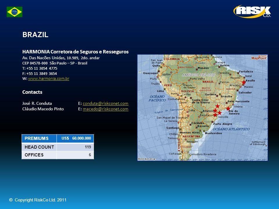 BRAZIL PREMIUMS US$ 60.000.000 HEAD COUNT 119 OFFICES 6 HARMONIA Corretora de Seguros e Resseguros Av. Das Nacões Unidas, 10.989, 2do. andar CEP 04578