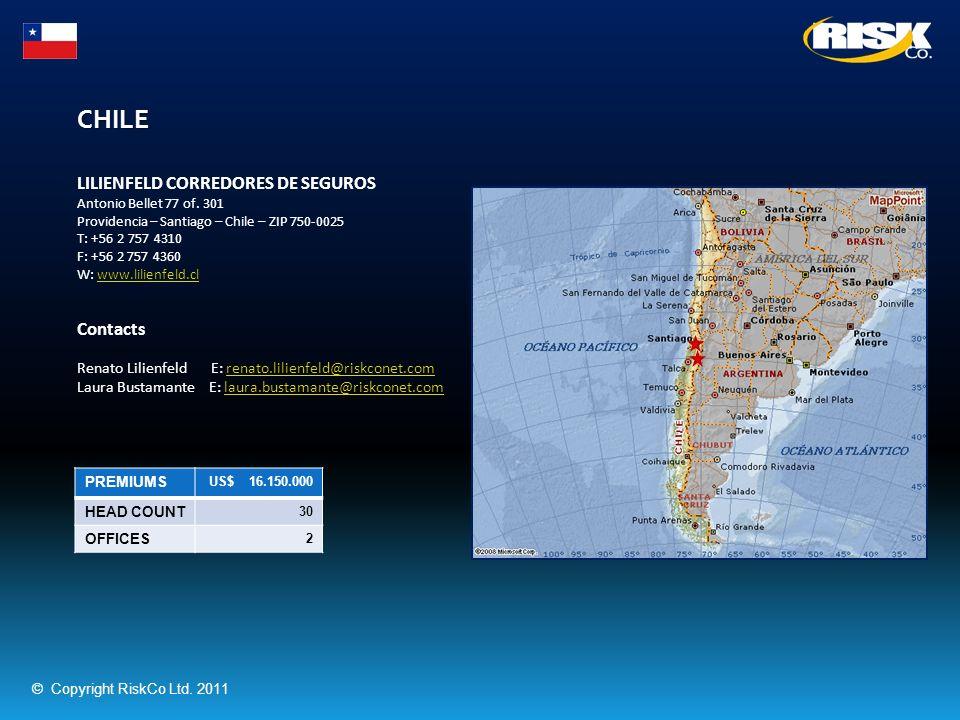 CHILE PREMIUMS US$ 16.150.000 HEAD COUNT 30 OFFICES 2 LILIENFELD CORREDORES DE SEGUROS Antonio Bellet 77 of. 301 Providencia – Santiago – Chile – ZIP