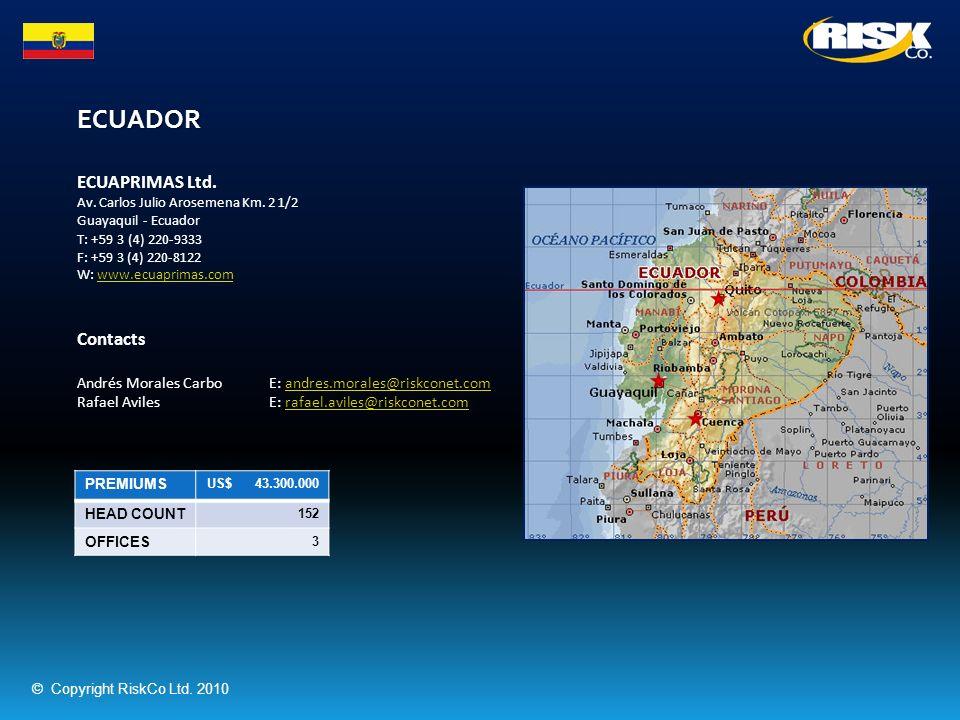 ECUADOR PREMIUMS US$ 43.300.000 HEAD COUNT 152 OFFICES 3 ECUAPRIMAS Ltd. Av. Carlos Julio Arosemena Km. 2 1/2 Guayaquil - Ecuador T: +59 3 (4) 220-933