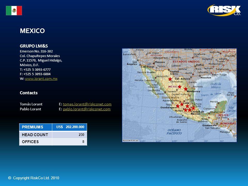 MEXICO PREMIUMS US$ 202.200.000 HEAD COUNT 230 OFFICES 8 GRUPO LM&S Emerson No. 316-302 Col. Chapultepec Morales C.P. 11570, Miguel Hidalgo, México, D