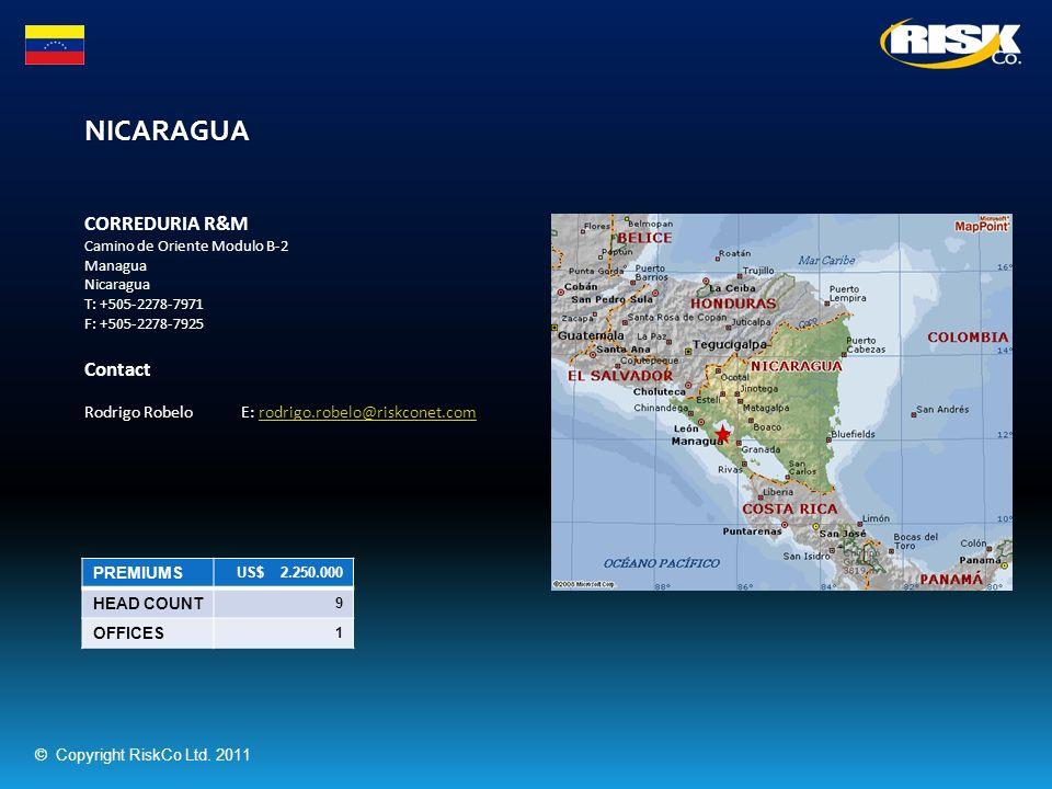 NICARAGUA PREMIUMS US$ 2.250.000 HEAD COUNT 9 OFFICES 1 CORREDURIA R&M Camino de Oriente Modulo B-2 Managua Nicaragua T: +505-2278-7971 F: +505-2278-7