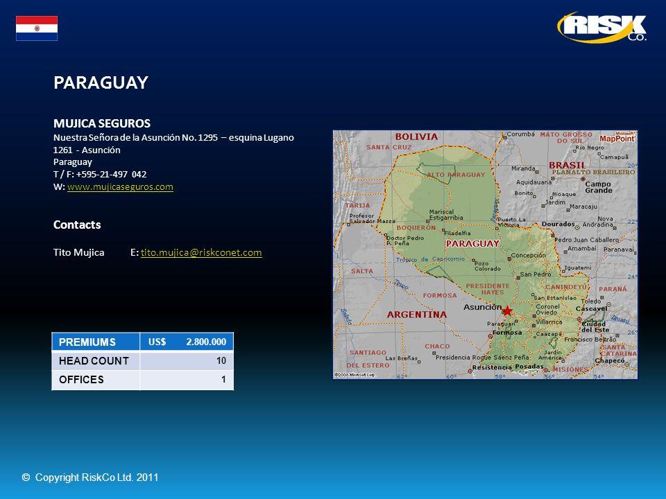 PARAGUAY PREMIUMS US$ 2.800.000 HEAD COUNT 10 OFFICES 1 MUJICA SEGUROS Nuestra Señora de la Asunción No. 1295 – esquina Lugano 1261 - Asunción Paragua
