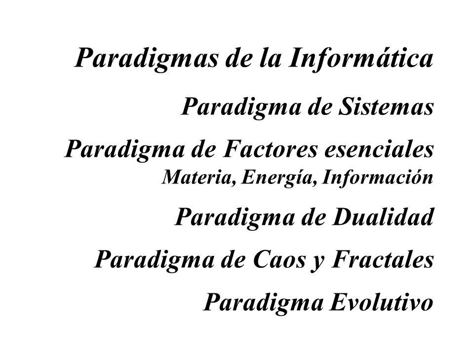 Paradigmas de la Informática Paradigma de Sistemas Paradigma de Factores esenciales Materia, Energía, Información Paradigma de Dualidad Paradigma de C