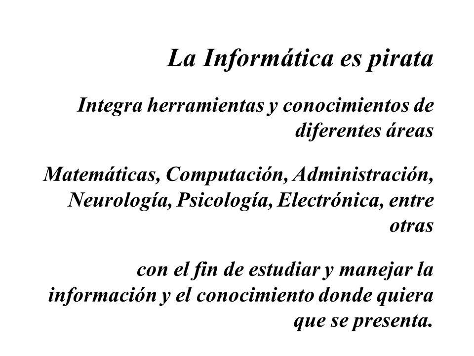 La Informática es pirata Integra herramientas y conocimientos de diferentes áreas Matemáticas, Computación, Administración, Neurología, Psicología, El