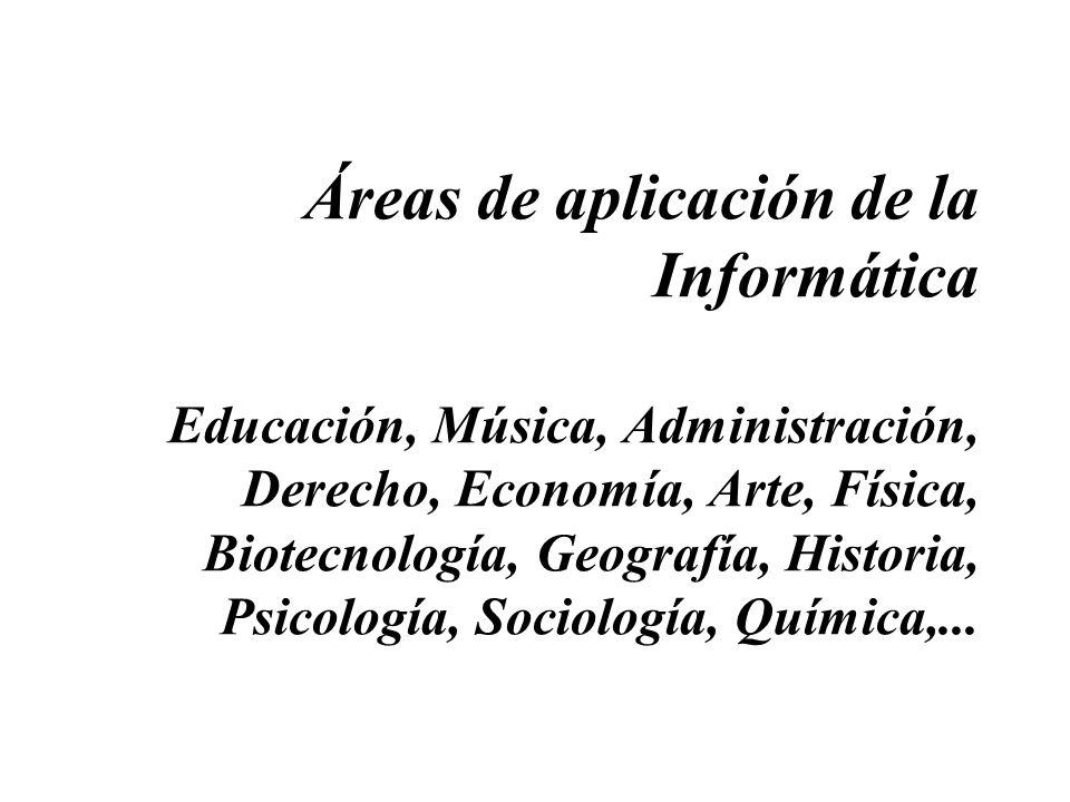 Áreas de aplicación de la Informática Educación, Música, Administración, Derecho, Economía, Arte, Física, Biotecnología, Geografía, Historia, Psicolog