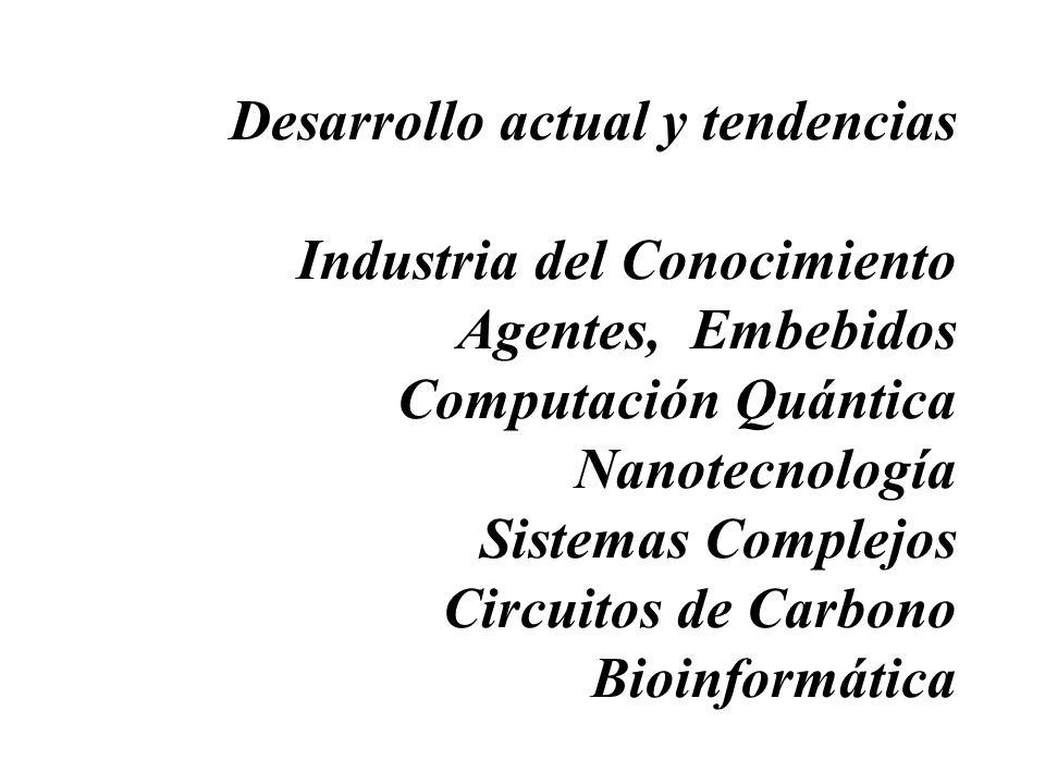 Desarrollo actual y tendencias Industria del Conocimiento Agentes, Embebidos Computación Quántica Nanotecnología Sistemas Complejos Circuitos de Carbo