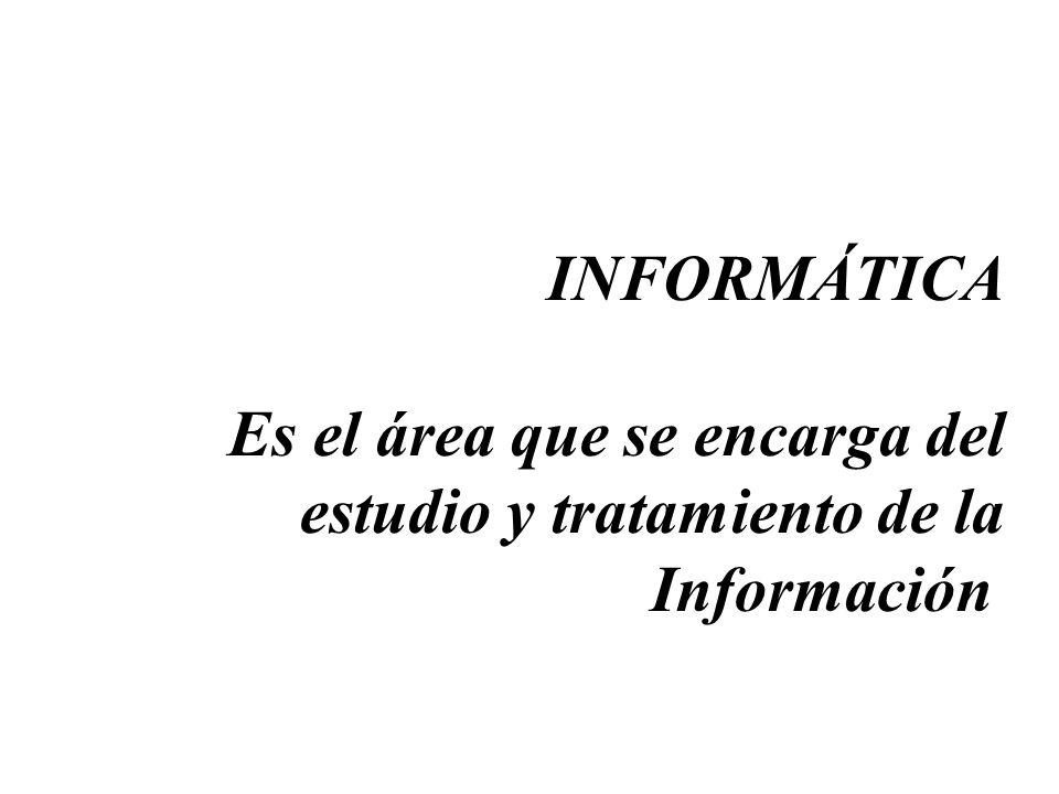 Campo de Estudio de la Informática La Informática estudia la Información y su relación con la Materia y la energía