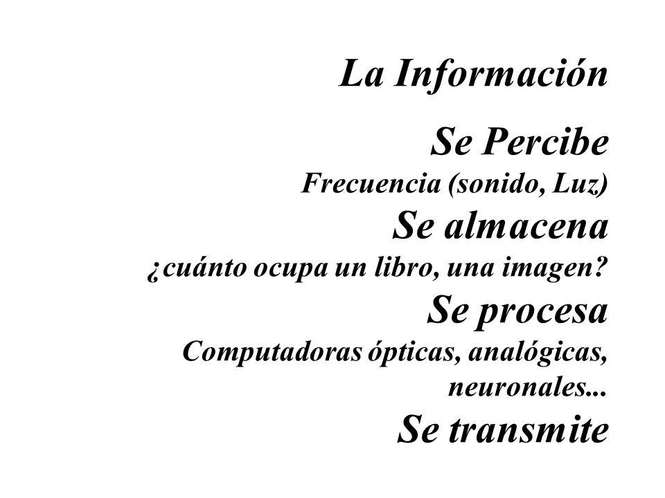 La Información Se Percibe Frecuencia (sonido, Luz) Se almacena ¿cuánto ocupa un libro, una imagen? Se procesa Computadoras ópticas, analógicas, neuron