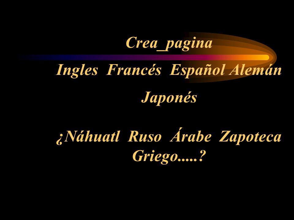 Crea_pagina Ingles Francés Español Alemán Japonés ¿Náhuatl Ruso Árabe Zapoteca Griego.....