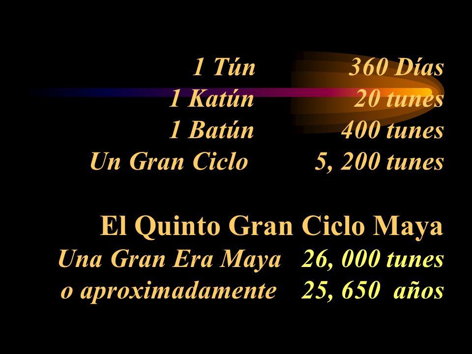 1 Tún 360 Días 1 Katún 20 tunes 1 Batún 400 tunes Un Gran Ciclo 5, 200 tunes El Quinto Gran Ciclo Maya Una Gran Era Maya 26, 000 tunes o aproximadamente 25, 650 años
